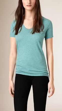 Burberry - V-Neck Cotton Jersey T-Shirt