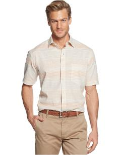 Club Room  - Short Sleeve Linen Blend Stripe Shirt