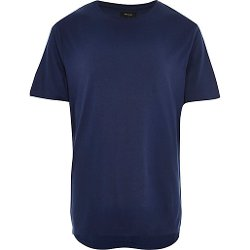 River Island - Dark Blue Zip Trim Curved Hem T-Shirt