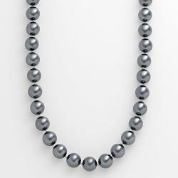 Sterling Silver  - Simulated Pearl Necklace