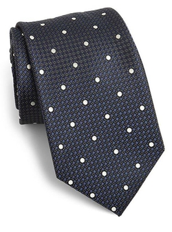 Saks Fifth Avenue Collection  - Dot Print Silk Tie