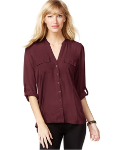 Inc International Concepts - Tab-Sleeve Woven Utility Shirt