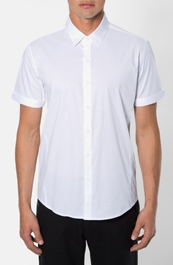 7 Diamonds  - Trim Fit Short Sleeve Stripe Stretch Woven Shirt