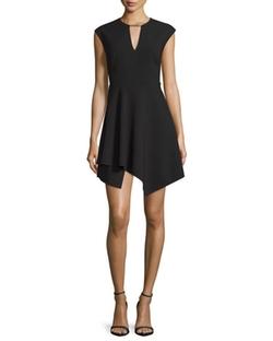 Halston Heritage  - Cap-Sleeve Handkerchief-Hem Mini Dress