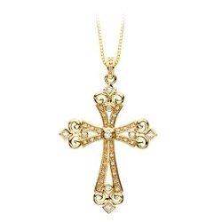 Katarina  - Diamond Cross Pendant with Chain Necklace