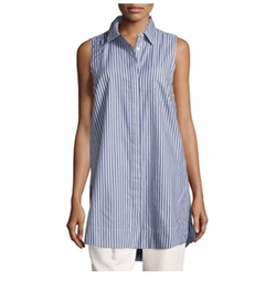 Marled By Reunited Clothing - Striped Long Sleeveless Blouse