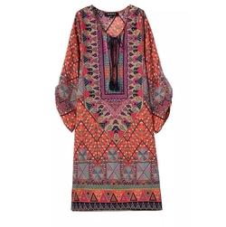 Genuine People - Print Silky Chiffon Kaftan Mini Dress