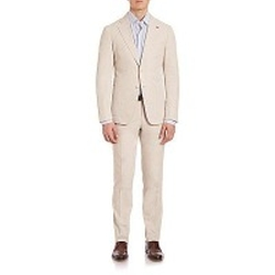 Isaia - Solid Cotton Suit
