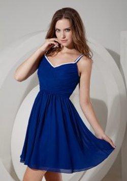 XY Dresses - Spaghetti Straps Mini-length Chiffon Ruched Dress