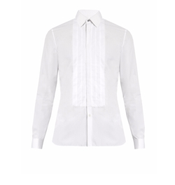 Burberry   - Double-Cuff Pleated-Bib Cotton Shirt