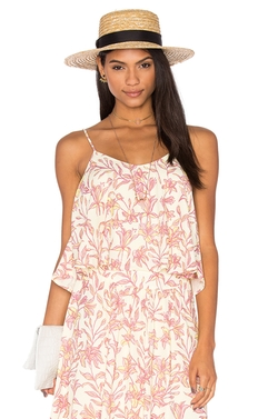 Bobi - Printed Chiffon V Neck Tank  Top