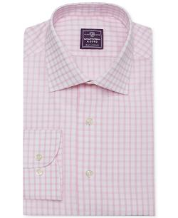 Cromwell and Sons  - Pale Pink Sateen Check Dress Shirt