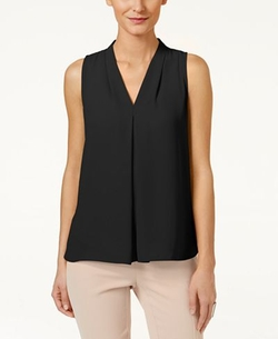 Vince Camuto  - Sleeveless Inverted-Pleat Blouse