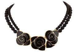 Balenciaga - Black Enamel Flower Necklace