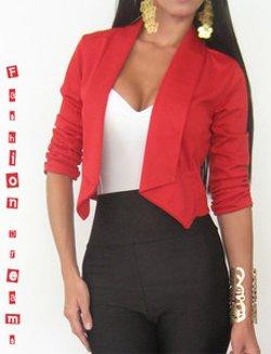 Isabella Dress Shop - Red Open Cardigan Blazer Jacket