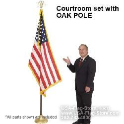 flagsexpress - Courtroom Indoor Flag Set w/ OAK POLE