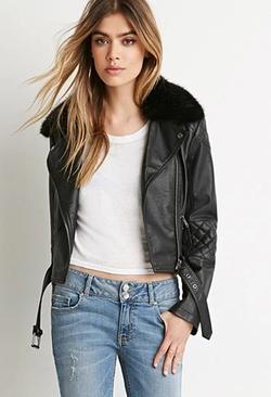 Forever 21 - Faux Fur Moto Jacket