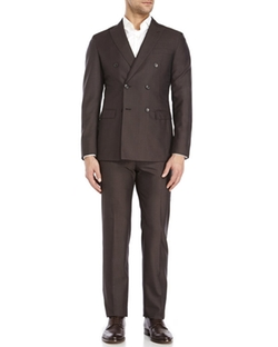 Belvest  - Double Breasted Slim Fit Wool Suit