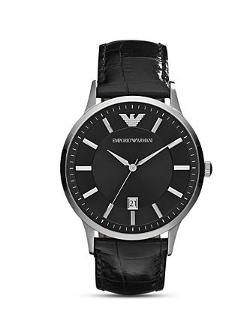 Emporio Armani  - Round Silver & Black Watch with Crocodile Embossed Strap