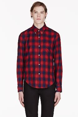 BAND OF OUTSIDERS - RED & NAVY PLAID SHIRT