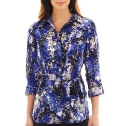 Liz Claiborne - Long-Sleeve Print Tunic Blouse