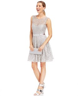 Betsy & Adam - Illusion Foiled Lace Belted Dress