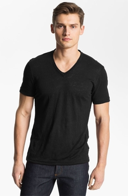 John Varvatos Collection - V-Neck Linen T-Shirt