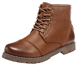 Guqitianlun - Leather Lace-Up Ankle Boots
