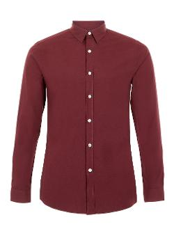 TOPMAN - BURGUNDY LONG SLEEVE SMART SHIRT