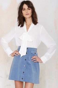 Nasty Gal - Glamorous Work It Pussy Bow Blouse