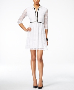 NY Collection - Crochet-Lace Shirtdress