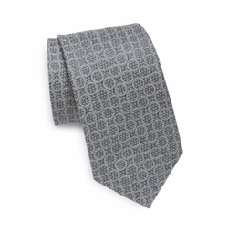 Saks Fifth Avenue Made in Italy  - Textured Circle Silk Tie