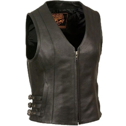 Milwaukee  - Leather Vest with V Shape Front Zipper