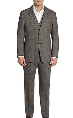 Hickey Freeman  - Slim-Fit Three-Piece Donegal-Tweed Suit