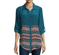 Tolani  - Selina Button-Front Printed Blouse