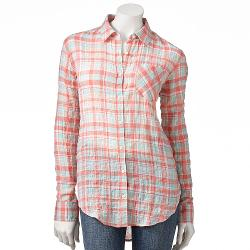 LC Lauren Conrad  - Plaid Crinkle Shirt - Women