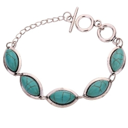 Yazilind - Turquoise Link Bangle Bracelet