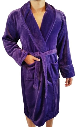 Fasciino - Shawl Collar Velour Microfiber Fleece Bathrobe