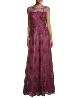 Kay Unger New York  - Cap-Sleeve Sequined Gown