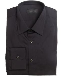 Prada  - Black Cotton Point Collar Dress Shirt