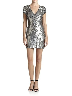 Parker  - Sequined Cap-Sleeve Dress