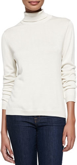 Joan Vass - Silk-Cashmere Long-Sleeve Turtleneck Top