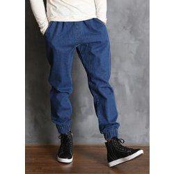 Yes Style - Band Waist Baggy Denim Pants
