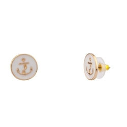 Lux Accessories  - Womens Anchor Sailor Stud Earrings
