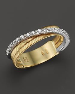 Marco Bicego  - 18K Yellow Gold Goa Three Row Ring with Diamonds