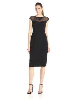 Maggy London - Crepe Illusion Sheath Dress