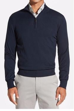 Robert Talbott  - Quarter Zip Mock Neck Sweater
