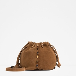 Zara - Beaded Leather Bucket Bag