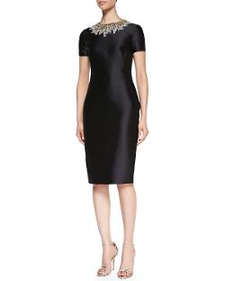 Pamella Roland  - Short-Sleeve Beaded-Neck Cocktail Dress
