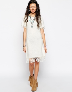 Asos Collection - Slub Knit Fringe Dress
